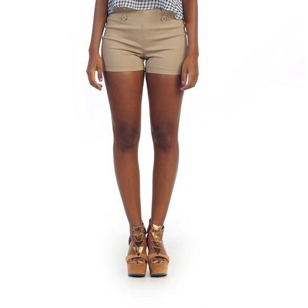 Hadari Women's Beige Casual Shorts