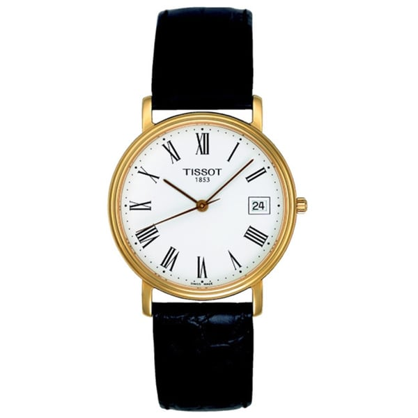 Tissot Women's T52.5.121.13 T Classic Black Leather White Dial Watch