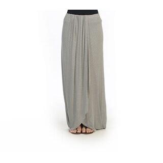 Hadari Juniors White and Black Elastic-waist Maxi Skirt