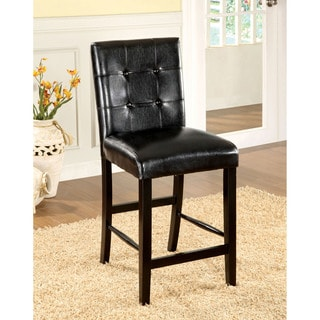 Furniture of America Berthelli Black Leatherette Counter Height Chair (Set of 2)