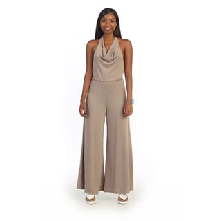 Hadari Women's Wide Leg Cowl Halter Neck Jumper
