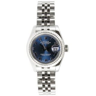 Pre-owned Rolex Women's Datejust Stainless Steel Jubilee Blue Roman Dial Watch