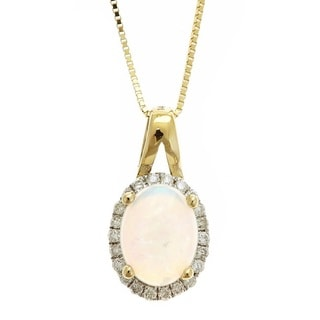 Anika and August 14K Yellow Gold Oval-cut Australian Opal and 1/8ct TDW Diamond Pendant Necklace (G-H, I1-I2)