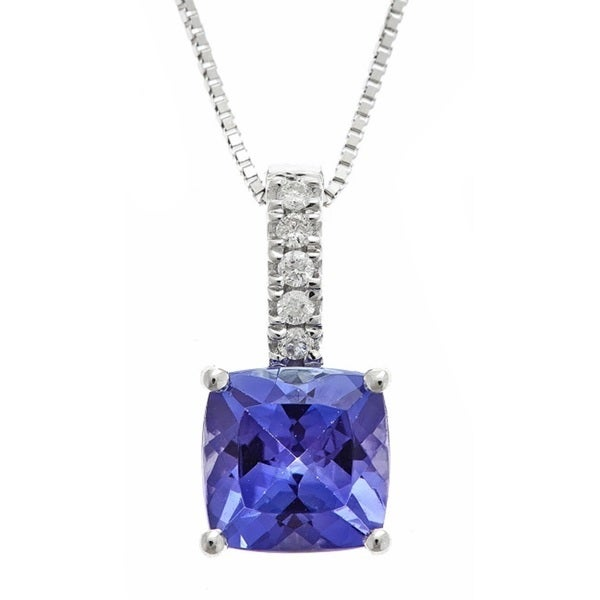 Anika and August 10k White Gold Tanzanite and Diamond Accent Pendant