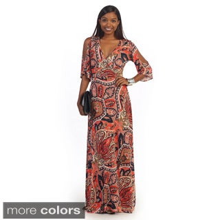 Hadari Women's Paisley Print V-neck Maxi Dress