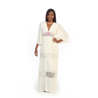 Hadari Women's Embroidered V-neck Lace Maxi Dress