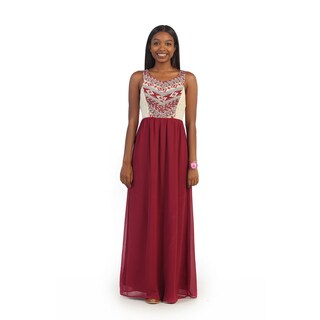 Hadari Women's Red Tribal Embroidery Maxi Dress