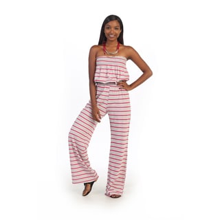 Hadari Women's Pink/ Grey Stripe Strapless Romper