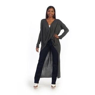 Hadari Women's Charcoal Long Sleeve Thow-on Pull-over Cardigan