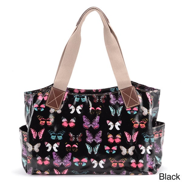 Women's Butterfly Pattern Oilcloth Tote