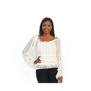 Hadari Women's White Off-the-shoulder Ruffled Blouse