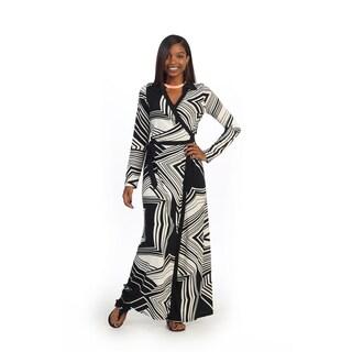 Hadari Women's Abstract Print Long Sleeve V-neck Maxi Dress