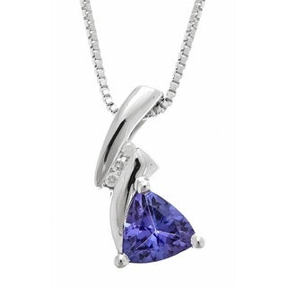 D'yach 925 Sterling Silver Tanzanite and Diamond Accent Pendant Necklace