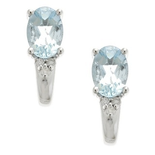 D'Yach Sterling Silver Brazilian Aquamarine and Diamond Accent Earrings