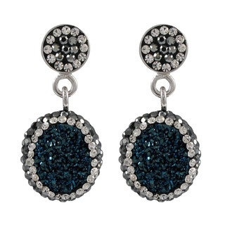 Luxiro Druzy Quartz and Czech Crystal Oval Dangle Earrings