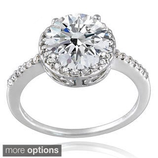 Icz Stonez Platinum Plated Sterling Silver 3ct TGW 100 Facets Cubic Zirconia Halo Ring