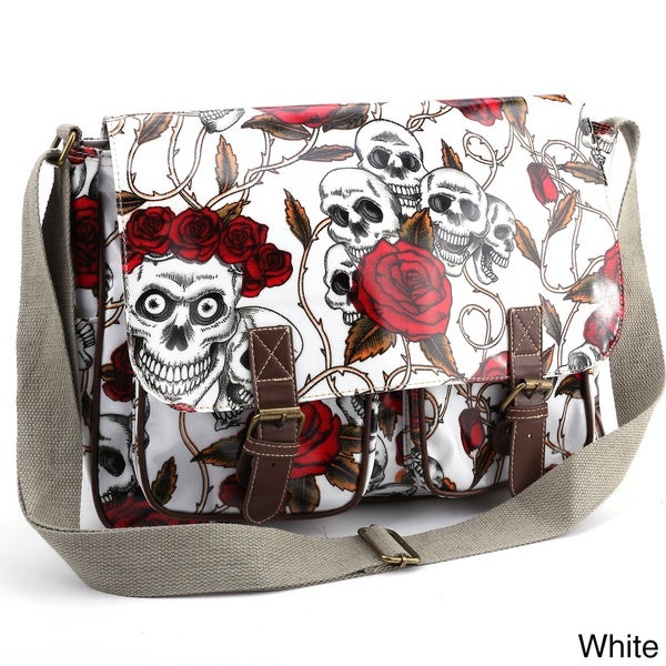 Skulls and Roses Oilcloth Messenger Bag