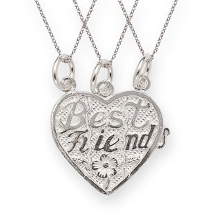 Sterling Silver Best Friends 3-piece Break Apart Heart Charm with Chains