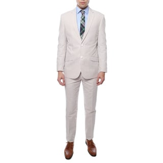 Zonettie by Ferrecci 2-piece 2-button Seersucker Cotton Slim Fit Summer Suit