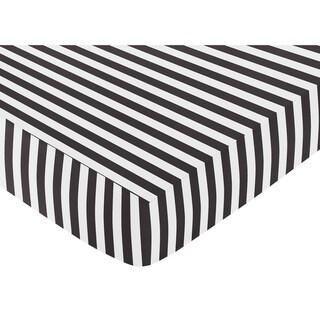 Sweet Jojo Designs Black and White Stripe Fitted Crib Sheet