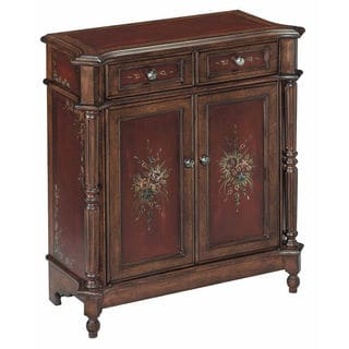 Chamberlin Small Antique Burgundy and Walnut Accent Cabinet