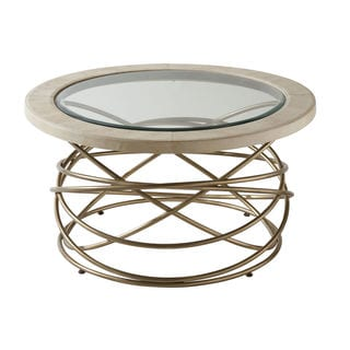Morgana Brushed Goldtone and Beveled Glass Cocktail Table