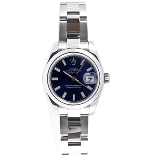 Pre-Owned Rolex Women's Datejust Stainless Steel Oyster Blue Stick Dial Watch
