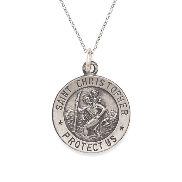 Sterling Silver Antiqued Round St. Christopher Medal Charm
