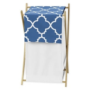 Sweet Jojo Designs Blue and White Lattice Laundry Hamper