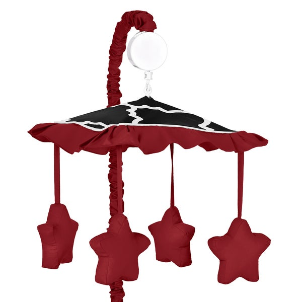 Sweet Jojo Designs Red and Black Lattice Musical Crib Mobile