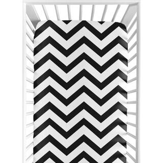 Sweet Jojo Designs Black and White Chevron Fitted Crib Sheet