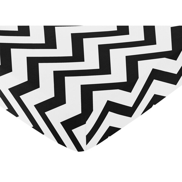 Sweet Jojo Designs Black and White Chevron Fitted Crib Sheet