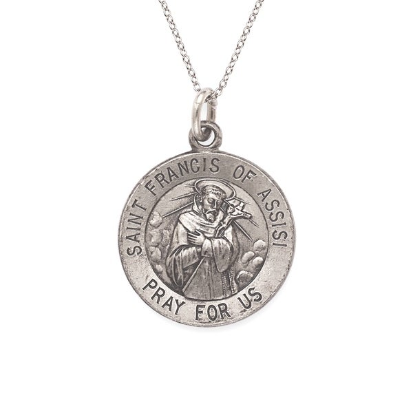 Sterling Silver Antiqued Saint Francis of Assisi Pendant with Chain