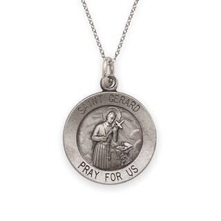 Sterling Silver Antiqued Saint Gerard Medal Pendant
