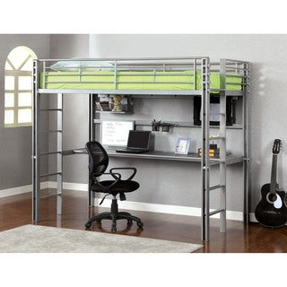 Furniture of America Eons Bolted Metal Twin Loft Bed with Workstation
