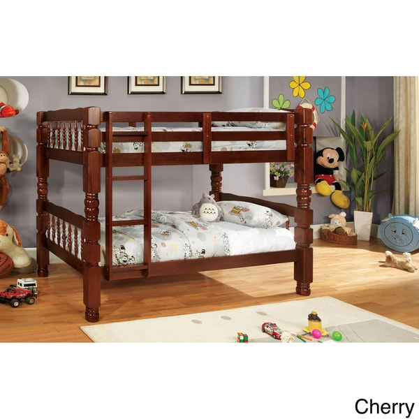 Furniture of America Lorraine Bold Traditional Twin over Twin Bunk Bed