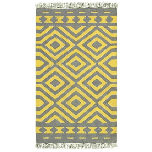 LNR Home Tribeca Grey/ Mustard Geometric Area Rug (7'9 x 9'9)