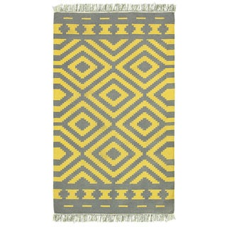 LNR Home Tribeca Grey/ Mustard Geometric Area Rug (7'9 x 9'9)
