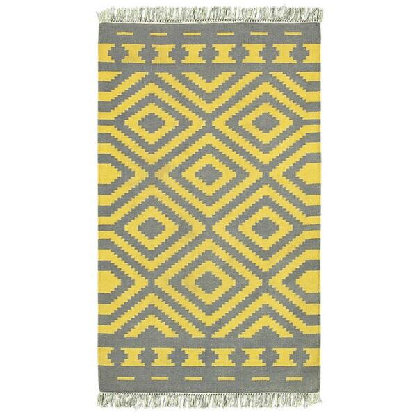LNR Home Tribeca Grey/ Mustard Chevron Area Rug (5' x 8')