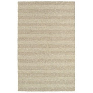 LNR Home Tribeca White/ Beige Striped Area Rug (7'9 x 9'9)