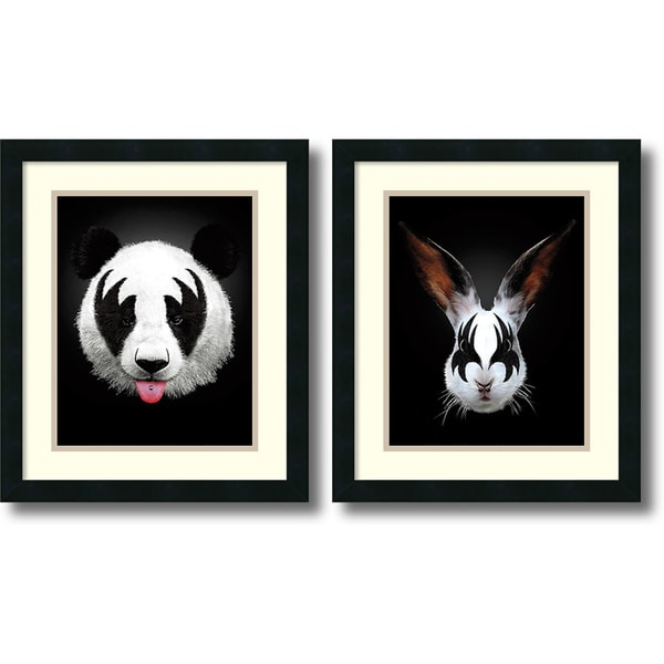 Robert Farkas 'Panda & Rabbit Rocks- set of 2' Framed Art Print 17 x 20-inch Each