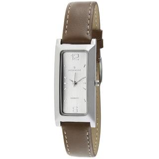 Peugeot Women's Rectangular Brown Leather Watch