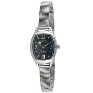 Peugeot Women's 712BL Silvertone Mesh Bracelet Moon Watch