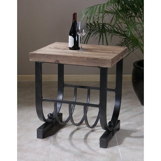 Bijan Black Metal and Wood Accent Table