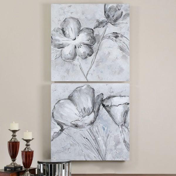 Uttermost Grace Design Co. 'Florals in Black and White' 2-piece Canvas Art Set
