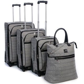 Anne Klein Calgary Plaid Four-piece Spinner Luggage Set