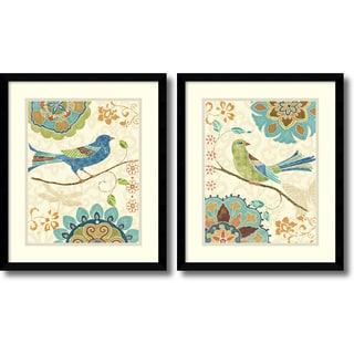 Daphne Brissonnet 'Eastern Tales Birds- set of 2' Framed Art Print 16 x 19-inch Each