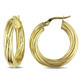 Miadora 10k Yellow Gold Textured Hoop Earrings