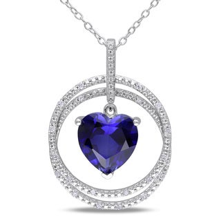 Miadora Sterling Silver Created Blue Sapphire and 1/10ct TDW Diamond Heart Necklace (H-I, I2-I3)