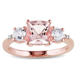 Miadora Rose Plated Silver Morganite, Created White Sapphire and Diamond Accent Ring